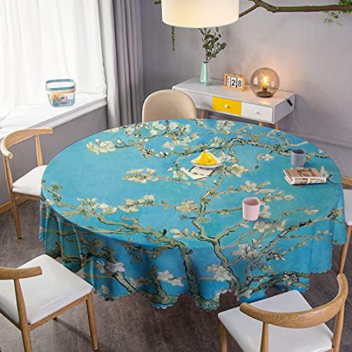 Paño de Mesa, Mantel limpiable, Impermeable, Protector de Cubierta de Mesa Redonda para Cocina, Picnic, Exterior, Interior