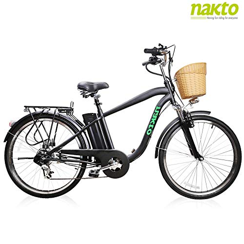 NAKTO 26' Adult Electric Bicycle for Men High-Speed Brushless Motor, V Brake, Sporting Shimano 6-Speed Gear, Removable 36V 10A Lithium Battery Charger and Lock (Male Black)
