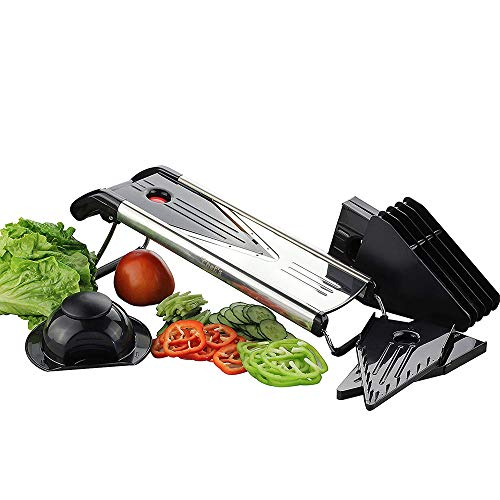 HHFZH Vegetable Slicer, Dicer Julienne and Food Grater Best for Slicing Onions, Potatoes, Tomatoes, Fruit and Vegetables Includes 5 Inserts, Blade Safety Sleeve,Stainless Steel
