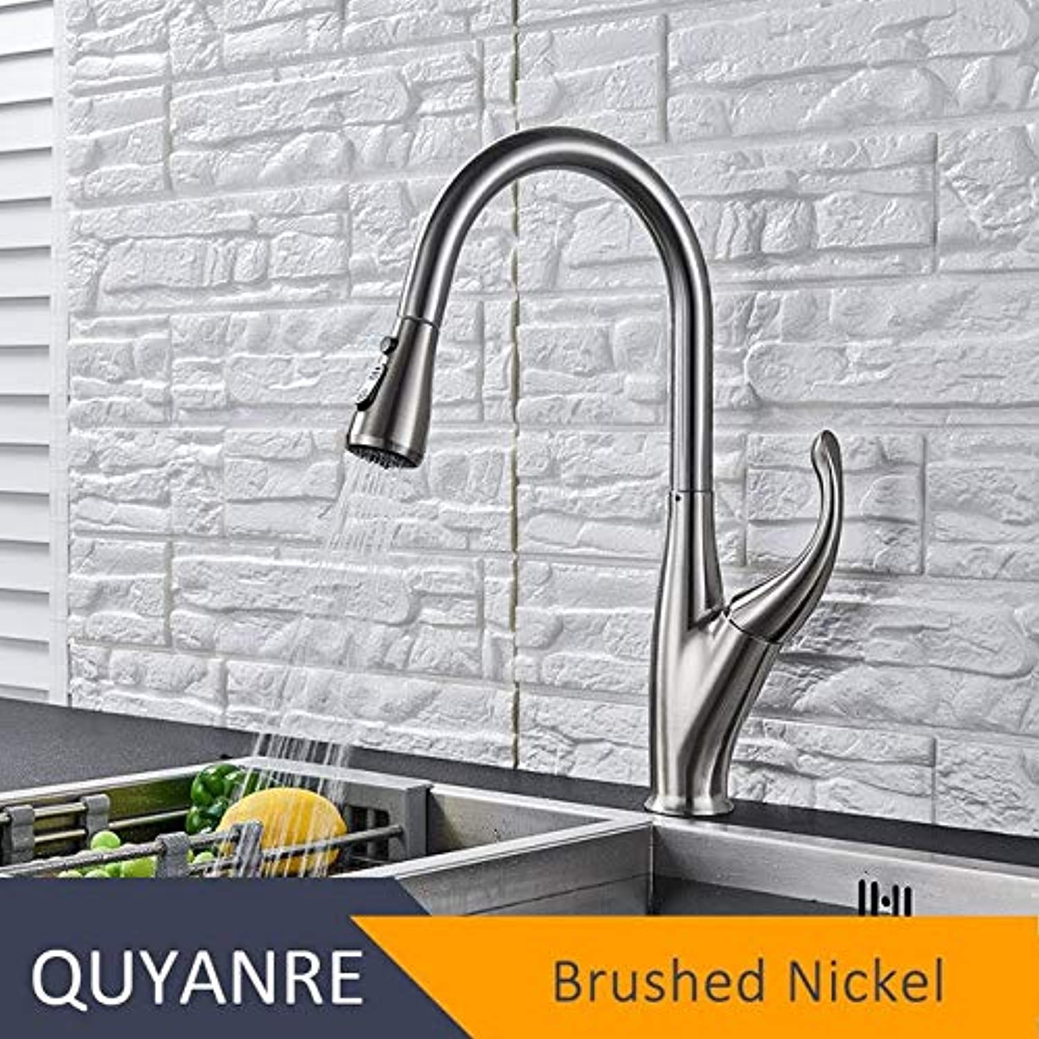 U-Enjoy Chandelier Black Kitchen Matte Faucet Out Top Quality Faucet Pull Single Handle Mixer 360 Degree Swivel Tap Water Mixer Tap Bathroom Mixer Tap Free Shipping [Brushed Nickel]