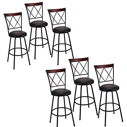 Bar Stools Set of 6, PU Leather Swivel Height Adjustable Counter Chair, Modern Metal Barstools with Ergonomic Backrest and Footrest for Dining Room Kitchen, Black