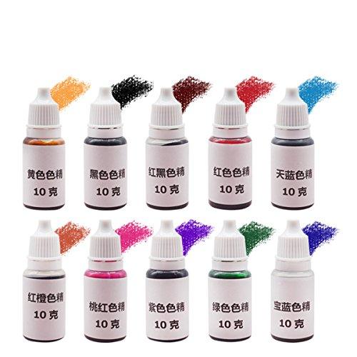 EsportsMJJ 10Pcs De Epoxy Resina Uv Ultravioleta Curado Tinte Colorante Pigmento Líquido Mezcla Colores Bricolaje Manualidades