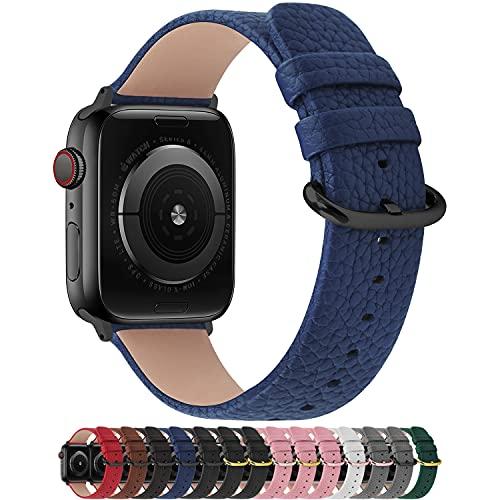 Fullmosa Cinturino per Apple Watch 42 mm/44 mm, Cinturino Pelle Compatibile con Apple Watch Serie SE 6 5 4 3 2 1, Sport, Nike+, Hermès, Edition, Blu Scuro + Fibbia Grigia fumé