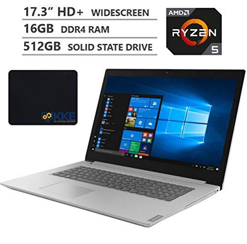 "2020 Newest Lenovo Ideapad L340 Laptop, 17.3"" HD+ Screen, AMD Ryzen 5 3500U Quad-Core Processor, 16GB DDR4 RAM, 512GB Solid State Drive, DVD, HDMI, WiFi, Bluetooth, Windows 10 Home, Grey, KKE Mousepad"