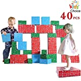 EP EXERCISE N PLAY Cardboard Blocks,40pcs Building Blocks Extra-Thick Jumbo Stackable Bricks in 3 Size for Toddler