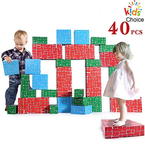 WishaLife Cardboard Blocks,40pcs Building Blocks Extra-Thick Jumbo Stackable Bricks in 3 Size for Toddlers Kids