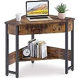 ODK CornerDesk Triangle Computer Desk Corner Vanity with Large Drawer & Storage Shelves, Corner Writing Desk for Workstation, Vintage