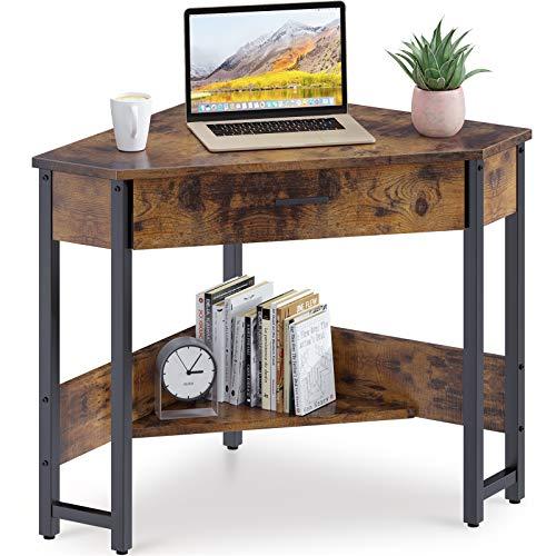 ODK CornerDesk Triangle Computer Desk Corner Vanity with Large Drawer & Storage Shelves, Corner...
