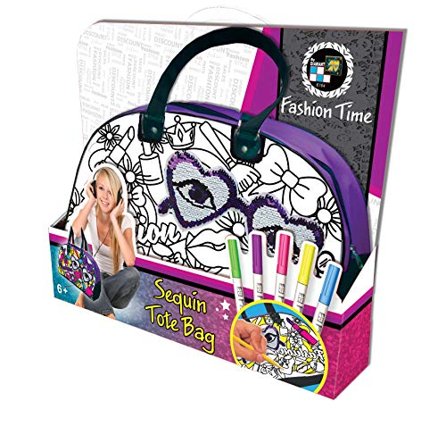 AMAV Toys DIY Personalize Paintable Reversible Sequins Tote Bag for Girls - Design and Paint Your Very own Cool Sequin Bag DIY Girls Crafts. Perfect Sleepover Activity for Kids Aged 6+