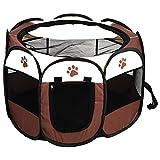Zerone Zelt für Tiere, Laufstall aus Stoff, faltbar, tragbar, Welpenzelt mit Netz-Deckel, Belüftung, Zaun für Hunde, Katzen, Kaninchen, 81 x 45 cm (Kaffee)