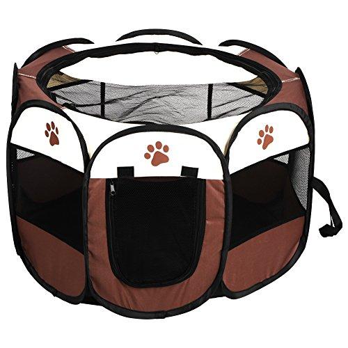 Parque Infantil para Mascotas de Oxford Cloth, Portátil Parque Corral Cachorro Animales para Perros Tienda de Campaña Plegable para Mascotas, Casa para Interior y Exterior, Pequeños Animales(café)