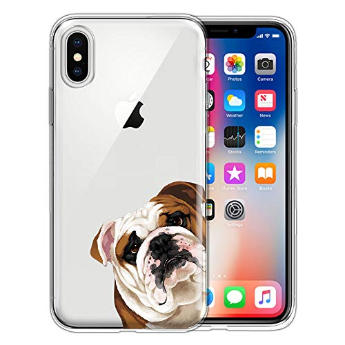 FINCIBO Clear Transparent TPU Silicone Protector Case Cover Soft Gel Skin Compatible with Apple iPhone X XS 5.8 inch - English Bulldog Look for You