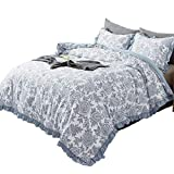 KASENTEX All Season Quilted Comforter Set Chic Modern Printed Pattern Down Alternative Fill 3-Piece with Stylish Boarder Trim Design(Floral Blue, Queen + 2 Shams)