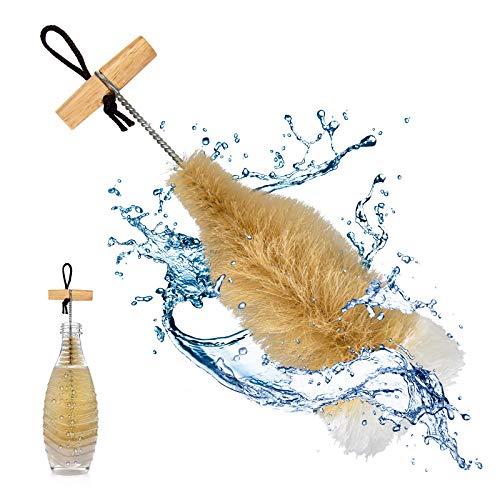 TOLIANCLE SodaStream Flaschenbürste für Glasflaschen – Premium Flaschenreiniger mit Wollkopf für eine schonende & kratzerfreie Reinigung von Trinkflaschen, Naturprodukt