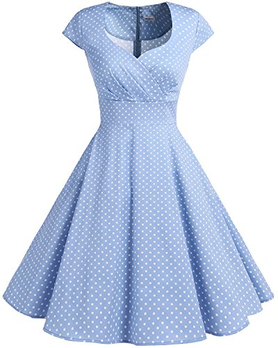 bbonlinedress 1950er Vintage Retro Cocktailkleid Rockabilly V-Ausschnitt Faltenrock Blue Small White Dot M