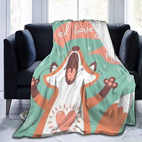Cute Fox Loves Home - Manta Ultra Suave para Cama Forro Polar de Franela para Todas Las Estaciones Peso Ligero Sala de Estar/Coche/Viaje Manta c¨¢LIDA para ni?os Adultos 50 'x 40'