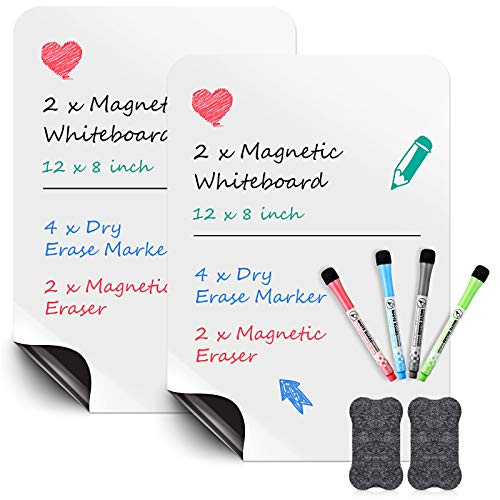 2 Pieces Magnetic Whiteboard Sheet for Fridge 12 x 8 Inch Dry Erase Whiteboard with 4 Pieces Colorful Markers 2 Pieces Whiteboard Erasers for Kitchen Refrigerator Organizer and Planner