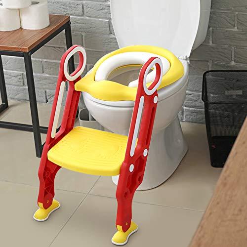 Cocoarm Riduttore WC per Bambini con Scaletta Antiscivolo Regolabile e Maniglie Morbido Cuscino (Rosso + Giallo)