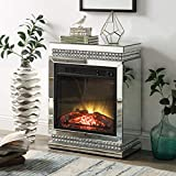 Mirrored Fireplace with Crystal Diamond Inlay, Realistic Electronic Fireplace, Fireplace Mantal with LED Flame No Smoking, Remote Controller and Automatic Timer Fireplace for Living Room Bedroom