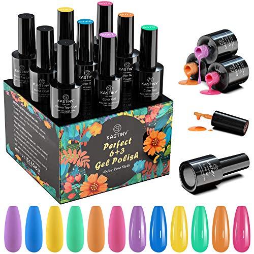 Smalto Semipermanente, Kastiny 9PCS Summer Rainbow Colore Gel Unghie UV LED 7,5ml con Base e 2 Top Coat, Kit Manicure Smalti per Unghie