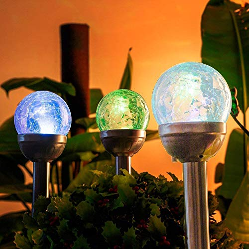 GIGALUMI Solar Lights Outdoor Yard Decoration, Cracked Glass Ball Dual LED Garden Lights, Landscape/Pathway Lights for Path, Patio, Yard-Color Changing and White-3 Pack