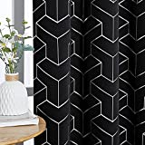 NICETOWN Blackout Curtains for Patio, Foil Printed Geometric Home Decoration Thermal Insulated Grommet Blackout Draperies/Drapes for Large Window Living Room (2 Panels, 52 inches x 95 inches,Black)