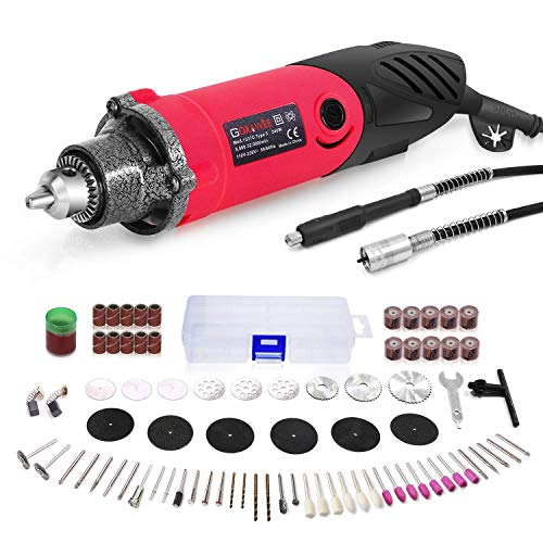 240W Rotary Tool Set, GOXAWEE Power Die Grinder Set with 1/4 Inch 3-Jaw Chuck (0.5-4 mm), 6 Step Variable Speed, Advanced Flex Shaft & 82Pcs Multifunctional Accessories for DIY Projects