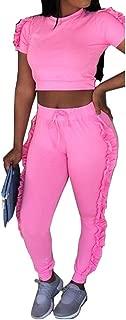 Speedle Sexy 2 Piece Tracksuits Women V Neck Crop Top + Ruffle Mesh Shorts Pants Set Jumpsuits Romper