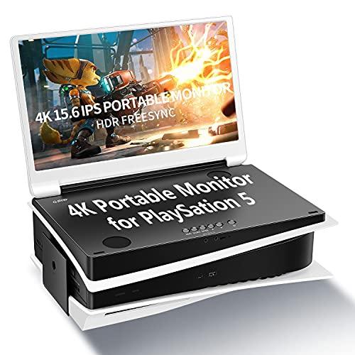 G-STORY 15.6 '' monitor portatile per PS5, UHD 4K portatile Schermo Gaming Monitor IPS per la PS5 (non incluso) con due HDMI, HDR, FreeSync, modalità di gioco, Travel Monitor per PS5