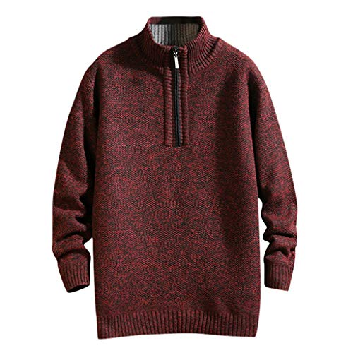 Luotuo Herren Rollkragenpullover Herbst und Winter Solide Casual Langarm Pullover Plus Samt Verdicken Strickpullover Top Lose Warme Sweater Bottoming Shirt