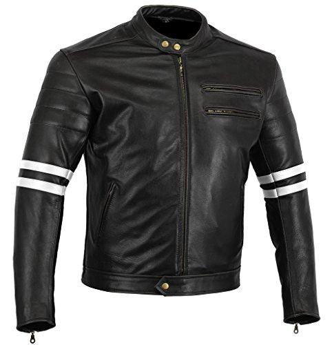 "Bikers Gear, Motorrad-Lederjacke ""The Rocker"", Schwarz, Café-Racer-Jacke, CE-Vestärkung, PU-verstärkt, Größe: XL, CE1621–1"