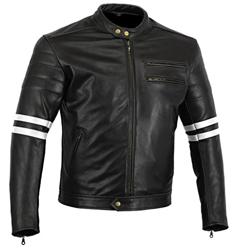 "Bikers Gear, Motorrad-Lederjacke ""The Rocker"", Schwarz, Café-Racer-Jacke, CE-Vestärkung, PU-verstärkt, Größe: XXL, CE1621–1"