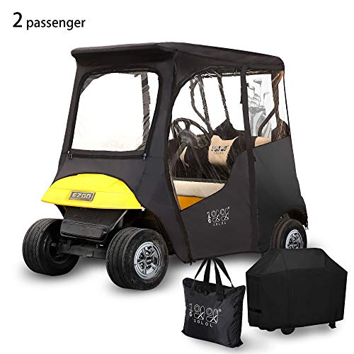 """10L0L 2 Passenger Deluxe Golf Cart Driving Enclosures for EZGO TXT, Waterproof Portable Transparent Golf Cart Cover Storage Enclosure Black- 4-Sided (Roof up to 58"""" L)"""