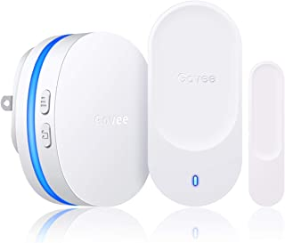 Govee Wireless Door Open Sensor, 1 Magnetic Door Entry Alert Security Contact Sensor, 1 Wireless Doorbell Plugin Receiver(330 Feet, 36 Tunes, 5 Volume Levels, LED Indicators)