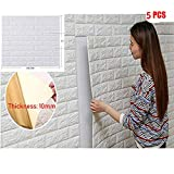 5 piezas 77*70cm 3D Ladrillo Pegatina Pared Autoadhesivo Panel Pared Impermeable, papel pintado blanco del ladrillo, paneles 3D de la pared,Papel Pintado