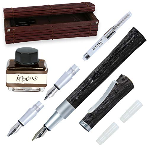 Online Kalligraphie-Füllhalter Newood, Schönschreib-Füller, natürliches Wawa-Holz in schwarz, 3 Strichstärken 0,8 1,4 und 1,8 mm, enthält ein Tintenglas mit brauner Tinte (15ml), Bullet Journal