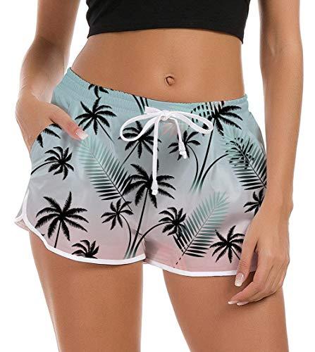 Rave on Friday Damen Badeshorts Sommer 3D Hawaii Druck Kurze Badehose Schnell Trocknendes Schwimmhose Strand Gym Boardshorts mit Taschen,L
