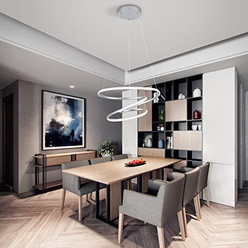 Lámpara de araña moderna LED de 70 W, lámpara colgante para mesa de comedor, 6000 K, color blanco, acrílico, 4200 lm, lámpara de techo para salón, diseño irregular de 3 anillos