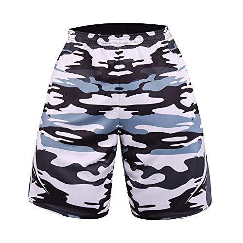 LIEIKIC Pantalones cortos de deporte para hombre, de secado rápido, para hacer deporte y entrenar., Blanco, M