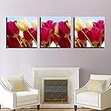 SJYHNB Foto Canvas Cuadro Rojo y tulipanes Impresión de Lienzo de Pared Arte Imagen Decoración Moderna del Ministerio del Interior 20 x 20 cm x 3 Paneles (con Marco)