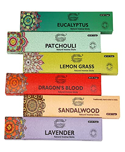 raajsee Incense Sticks 6 Pack Variety Set 15gm Each, Lavender-Sandalwood-Patchouli-Dragon Blood-Eucalyptus-Lemon Grass-100% Organic Hand Rolled- Perfect for Church,Aromatherapy,Relaxation Meditation
