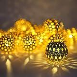 40 LED Cadena Luces Led, Sendowtek Cadena de Luces por USB, Metal Marroquí, Guirnalda de Luz Decorativa de 50 Metros, Cuerpo Impermeable para Uso al Interior y Exterior, Decoración Luminosa para...