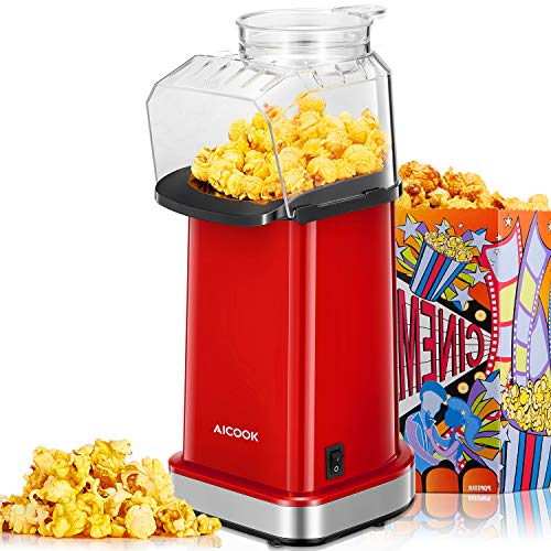 Hot Air Popcorn Maker 1400W, AICOOK Electric Home Popcorn Popper with Measuring Cup and Removable Lid, 3 Minutes Fast, Healthy Oil-Free & BPA-Free, Easy to Clean, Red