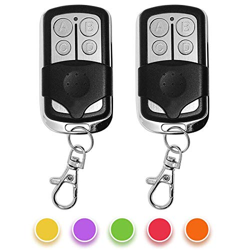 (2 Pack) Universal Garage Door Remote Control Replacement for Chamberlain LiftMaster371LM,971LM,81LM,891LM,893LM,890MAX Compatible with Purple/Red/Orange/Green/Yellow Learn Button.
