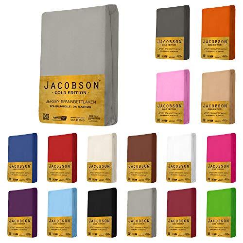 Jacobson Gold Edition Jersey Spannbettlaken Spannbetttuch Baumwolle mit ELASTAN ca. 200 g/m² (Topper 180-200x200 cm, Grau)