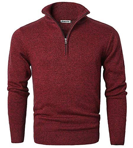 Men's Long Sleeve Quarter Zip Sweater Knit Turtleneck Pullover Red Large