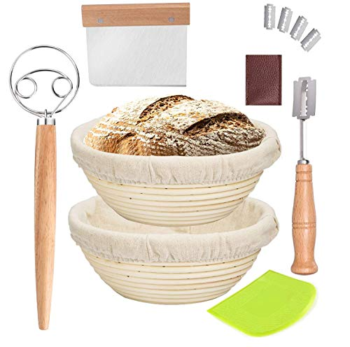 Bread Proofing Basket Set, Bread Making Tools ,9 Inch & 10 Inch Round Banneton Baking Dough Bowl, Natural Rattan sourdough Baking set with Bread Lame +Danish Dough Whisk+ Dough Scraper + Linen Liner