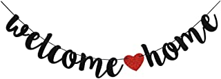 Welcome Home Banner for Home Party Sign Decorations,Red & Black Family Theme Party Supplies