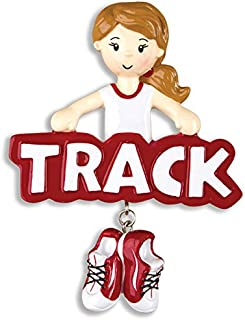 Grantwood Technology Personalized Christmas Ornaments Sports-Track-Girl/Girls Track and Field Ornament/Girl Track Ornament/Personalized Girls Track Ornament/Personalized by Santa