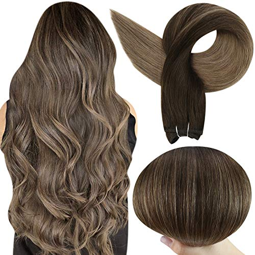 Full Shine 16 Inch Sew in Hair Weft Color 2 Darkest Fading To Color 8 Ash Brown Weft Straight Brazilian Hair Bundles For White Women 100 Gram Remy Weave In Human Hair Extensions